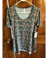 LuLaRoe Gray Floral Perfect T Tunic Top XXS - $14.85