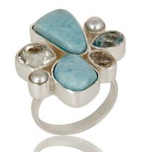 Larimar, Pearl Crystal Quartz Sterling Silver Handmade Ring Gemstone Jew... - $50.00