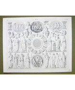 MYTHOLOGY 12 Planets of Gods Idols Seasons Priests - 1844 SUPERB Engravi... - $16.84