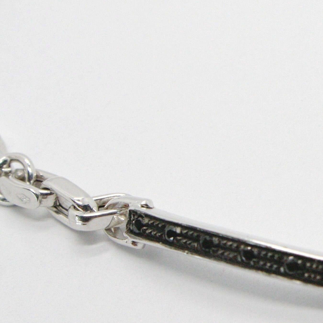 Bracelet or Blanc 18K 750, Tubes et Ovales Alterné, Plaque avec Zirconia