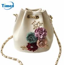 2017 New Design Women Handmade Flowers Bucket Bags Mini Shoulder Bag   - $22.65