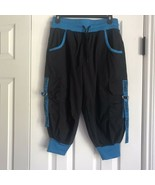 Zumba wear fitness pants active wear size small black with blue knit cuffs - $16.48