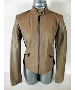 XHILARATION womens Medium L/S Tan FAUX LEATHER zip front 2 POCKET jacket... - $44.88