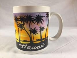 Vintage Hawaii Coffee Mug Hawaiian Sunset Coffee Cup Palm Trees - $17.35