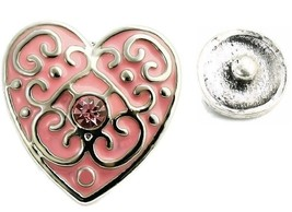 USA SELLER Interchangeable Button Snap Jewelry Pink Heart With Scrolls 1... - $5.92