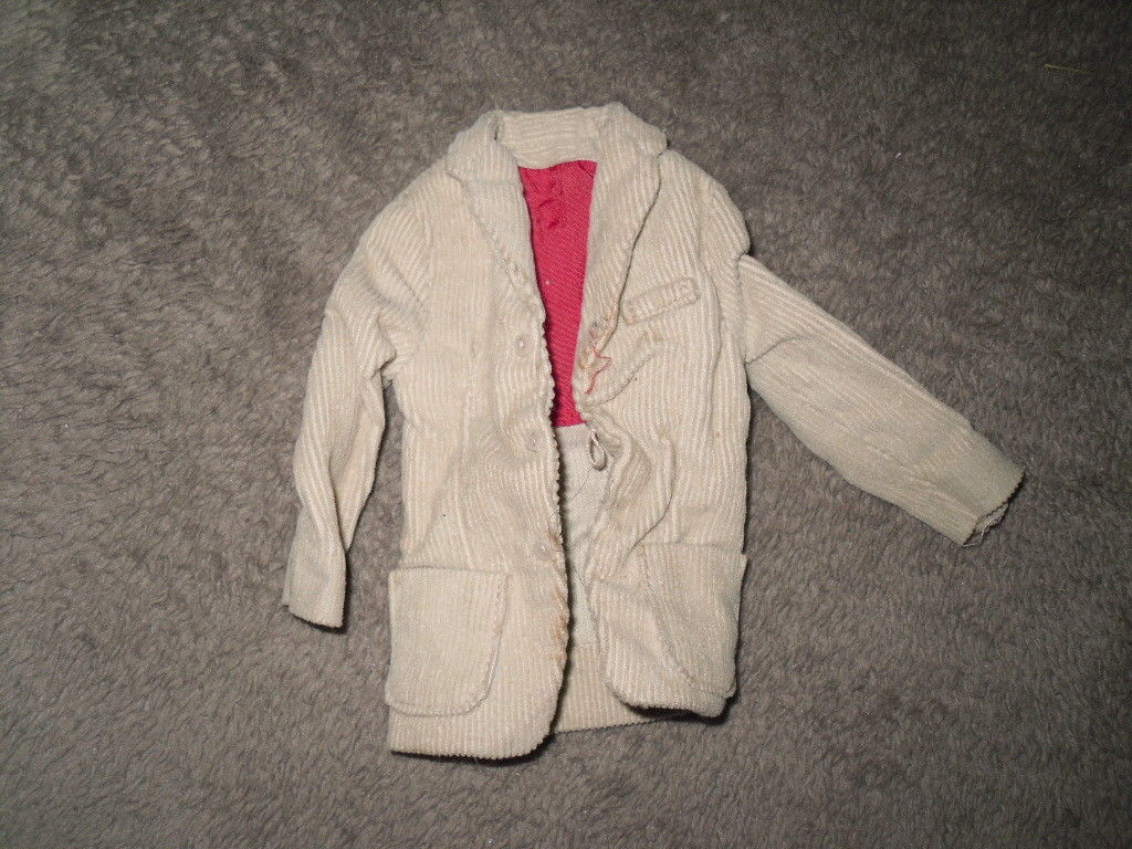 Mattel Barbie Doll Clothes - Ken Pak Corduroy Jacket - 1962 BW Label image 1