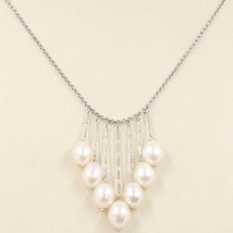 Necklace White Gold 750 18K,Waterfall,Fringed,Pearls Peach Ovals,Chain R... - $876.26