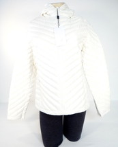 Lacoste White Zip Front Quilted Down Filled Hooded Jacket Womens 10 NWT - $185.62