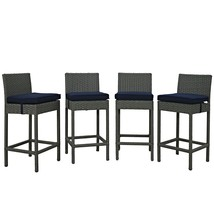 Sojourn 4 Piece Outdoor Patio Sunbrella® Pub Set Canvas Navy EEI-2196-CH... - $725.75