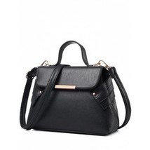 Metal Magnetic Closure PU Leather Crossbody Bag - $11.77
