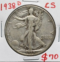 1938D Walking Liberty Half Dollar 90% Silver Coin Lot# A 580