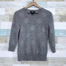 Peck & Peck Luxury Pure Cashmere Sweater Gray Sequin Circles 2 Ply Women... - $59.39