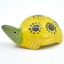 Hard Carved Kisii Soapstone Yellow & Green Turtle Figurine Made in Kenya image 2