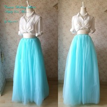 TURQUOISE BLUE Maxi Floor Length Tutu Skirt High Waist 6-Layer Bridal Tutu Skirt image 2