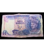 Bank Negara Malaysia One $1 Dollar Satu Ringgit Note Banknote Paper Money - $10.00