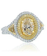 GIA Certified 2.16 Ct VS1 Oval Cut Yellow Diamond Engagement Ring 18k White Gold - $6,133.62