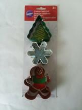 Wilton Metal Cookie Cutter Set of 3 Christmas Tree Snowflake Gingerbread Man - $9.49