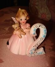 Vintage Josef Originals Pink Angel Figurine 2 Years Old w/ Label Sticker - $9.95