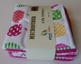 "APPLE HEART MICROFIBER TOWELS 6-pack Dishcloths 12""x12"" Pink Dish Cloths Apples image 5"