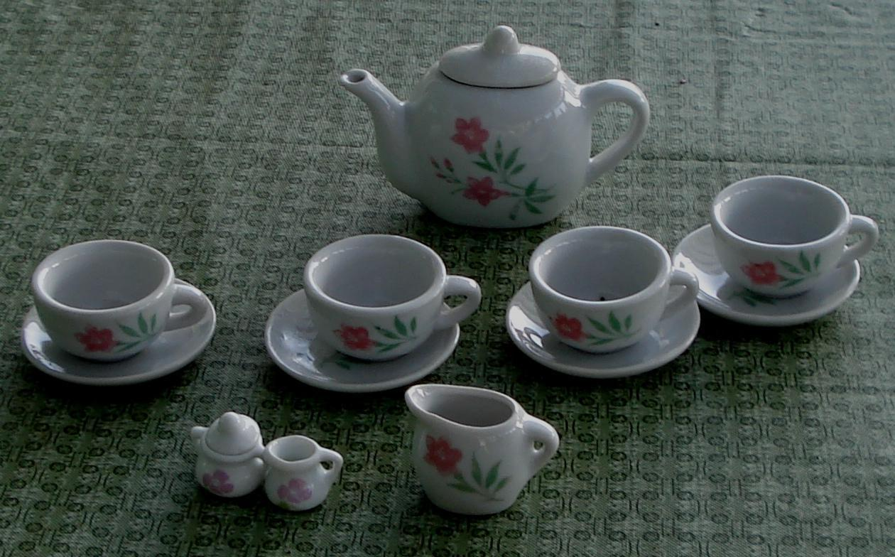 Primary image for Nice Vintage Miniature China Teapot and China Setting, GOOD CONDITION