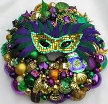 Vintage Christmas ornament wreath 18 Inch Gold Purple Green Mardi Gras 3... - $222.74