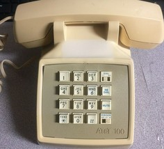 AT&T 100 Vtg Touch Tone Push Button Desk Phone - Beige - Dial Pulse Feature - $17.81