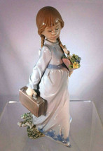 New Lladro School Days #7604 Collectors Society 1988 Girl w/ Briefcase & Flowers - $99.99