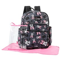 Disney Minnie Mouse Toss Head Print Backpack Diaper Bag, Grey - $51.74