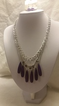 Fashion Sliver Tone Necklace Purple Beads Three Strand Bib With Earrings - $9.99