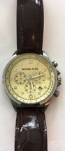 Michael Kors MK8115 Men Chestnut Leather Analog Beige Dial Quartz Watch RETURN - $55.05