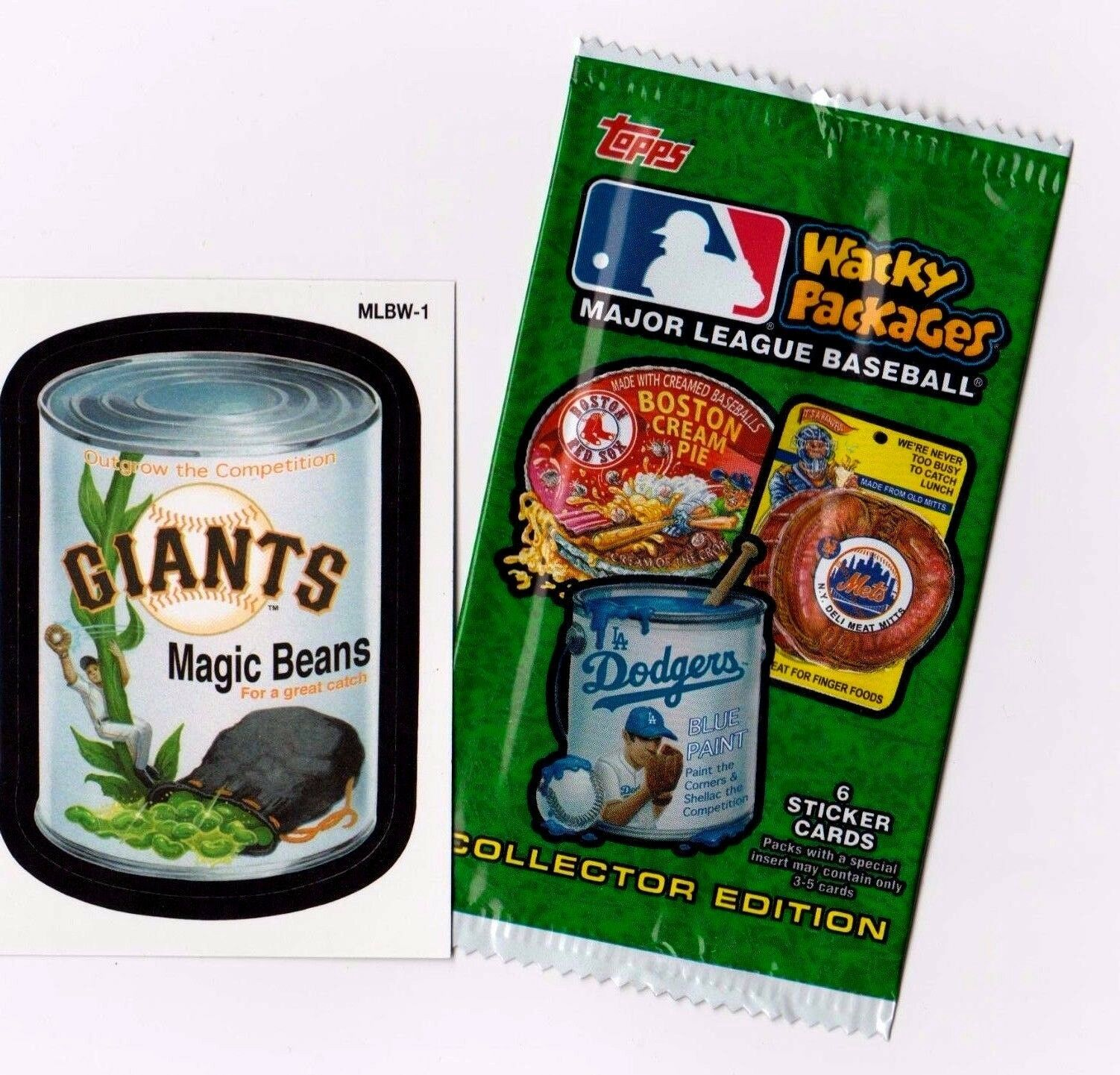 """2016 Wacky Packages Baseball Series 1 """"GIANTS MAGIC BEANS"""" Promo Sticker MLBW-1"""