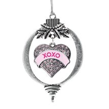 Inspired Silver XOXO Candy Pink Pave Heart Holiday Ornament - €12,87 EUR