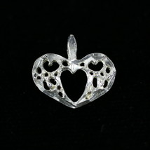 Vintage .925 Sterling Silver .5g Hollow Carved Mini Heart Pendant Charm - $9.34