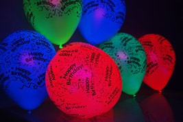 25 Pack Neon Assorted 11 inch Blacklight Reactive Latex Happy Birthday B... - $16.95