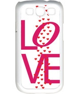 Valentine's Pink Love Text with Raining Hearts Samsung Galaxy S3 Case Cover - $13.95
