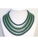 Seven strand green Austrian crystal Jade glass ... - $35.00