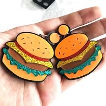 Hamburger Fries Large Statement Earrings Drop Acrylic Korean Kawaii Cute... - $3.99