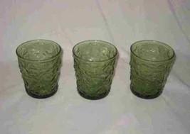"Lot Of 3 Avocado Green Anchor Hocking SORENO 3 1/2"" Drinking Glasses - $38.52"