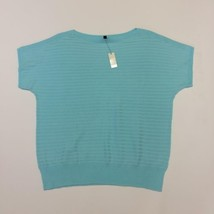 NWT Talbots Womens 1XP Crew Neck Sweater Blue Short Sleeve Knit Ribbed Pullover - $33.24