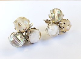 Vintage Signed Vogue Glass Givre Lovely Cluster Clip On Earrings. - $19.79