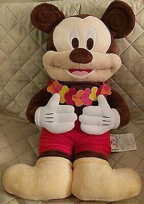 "Disney Store Hawaiian Mickey Mouse Soft stuffed plush doll 23"""