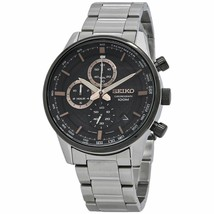 New Seiko Chronograph Black Dial Stainless Steel Men's Quartz  Watch SSB331 - $159.95