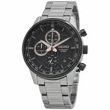 New Seiko Chronograph Black Dial Stainless Steel Men's Quartz  Watch SSB331 - £128.84 GBP