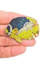 Designer Inspired Golden Or Yellow Rhinestones Fish Brooch Pin C Clasp - $10.90