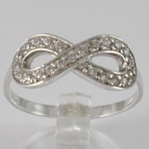 WHITE GOLD RING 750 18K, INFINITY SYMBOL WITH ZIRCON, MADE IN ITALY - £191.39 GBP