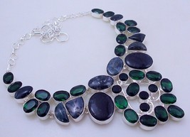 Diopside-Moss Agate Silver Overlay Handmade Jewelry Necklace 127 Gr. F-288  /7 - $27.90