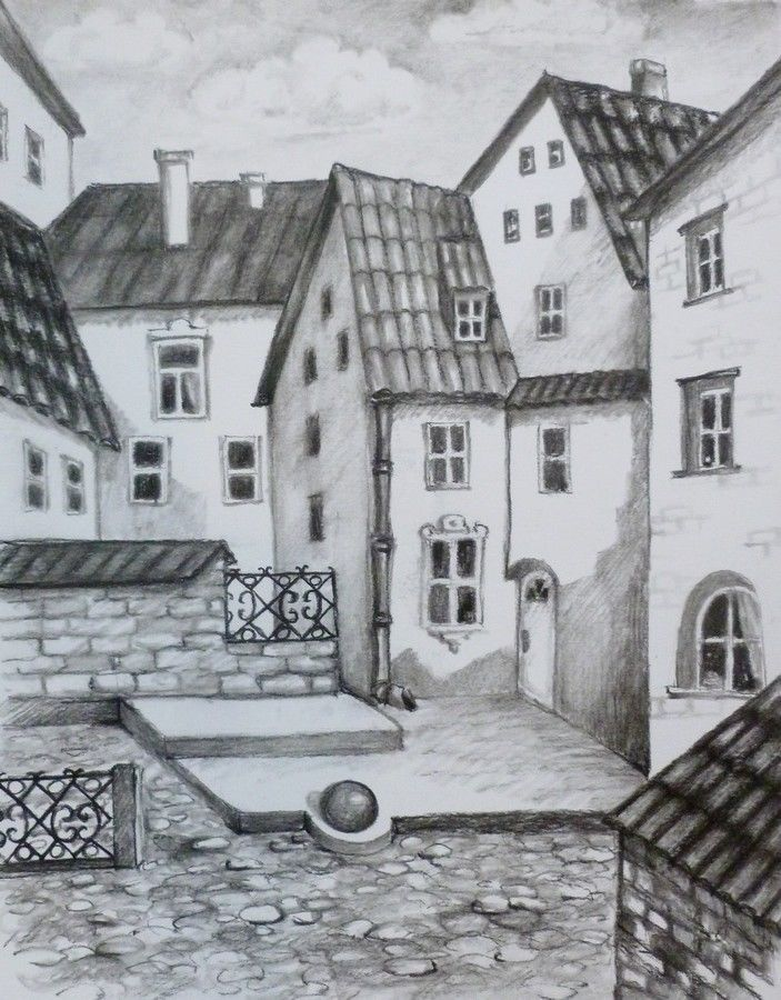 OLD TOWN, Original painting by Akimova, charcoal, cityscape