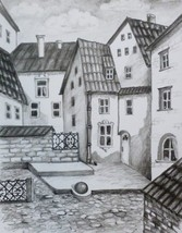 OLD TOWN, Original painting by Akimova, charcoal, cityscape - $14.00