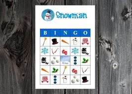 Snowman Winter Christmas Holiday Party Game Bingo Cards on Card Stock 10... - £16.58 GBP