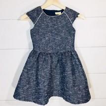 Crazy 8 Metallic Tweed Dress Blue/White/Silver Girl's Size 6 - $18.69
